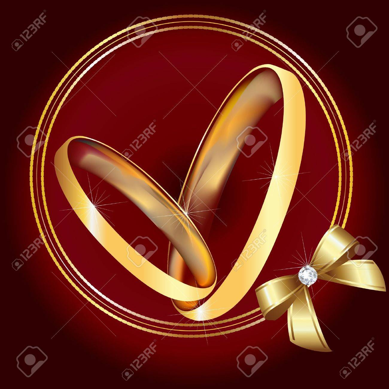 Wedding gold rings and ribbon Stock Vector - 12805955