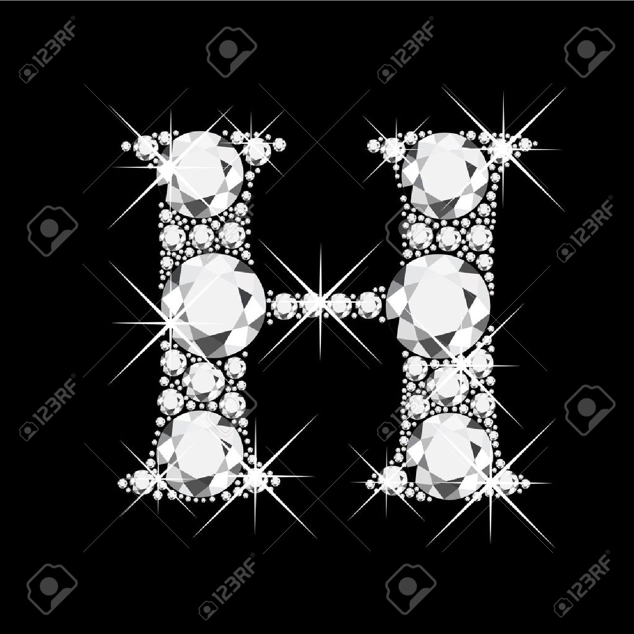 H Letter With Diamonds Bling Stock Vector