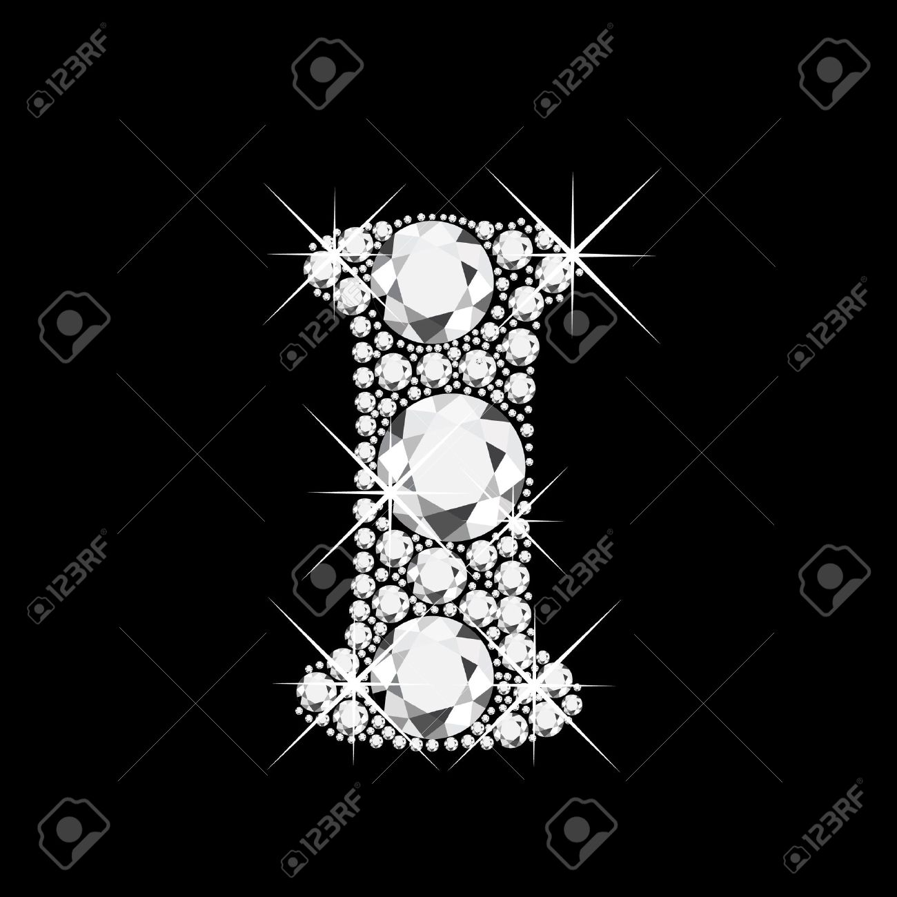 i letter with diamonds bling bling royalty free cliparts vectors
