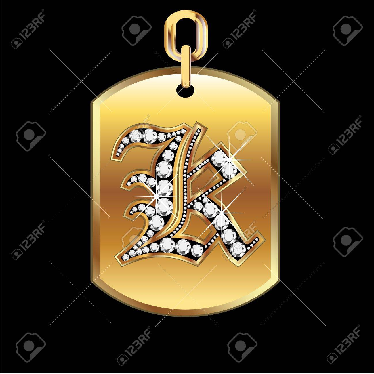 K medal in gold and diamonds Stock Vector - 12982333