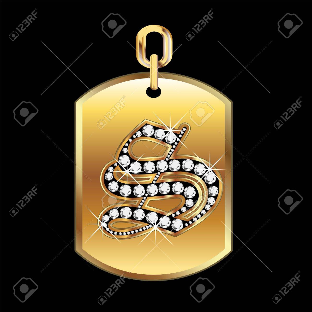 S medal in gold and diamonds Stock Vector - 12982425
