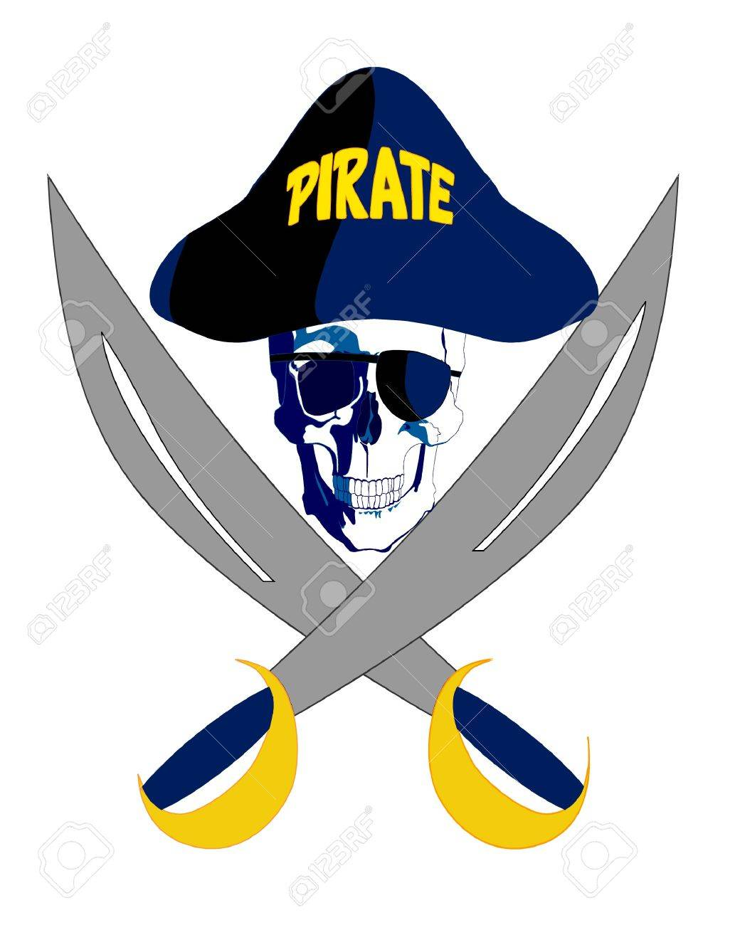 Pirate with glasses, hat and two crossed swords Stock Vector - 13042080
