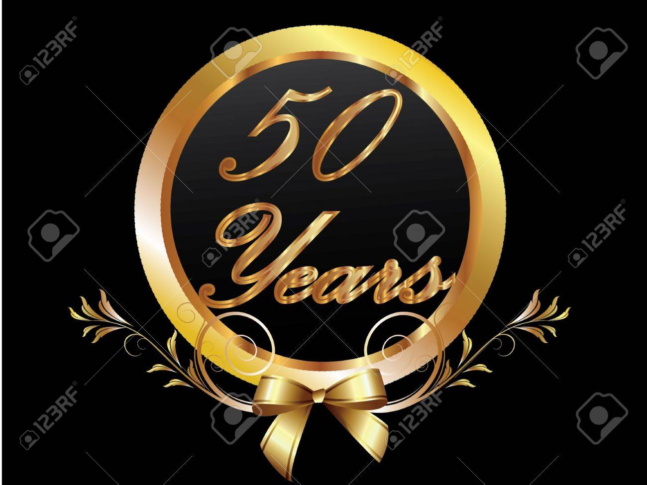 Gold th anniversary birthday vector royalty free cliparts