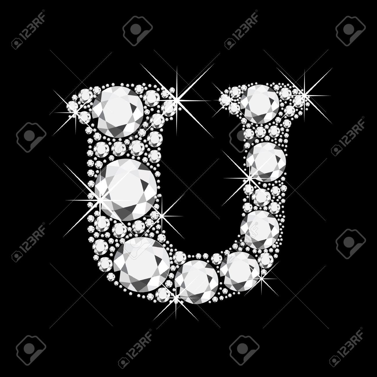 U letter with diamonds bling bling Stock Vector - 13659331