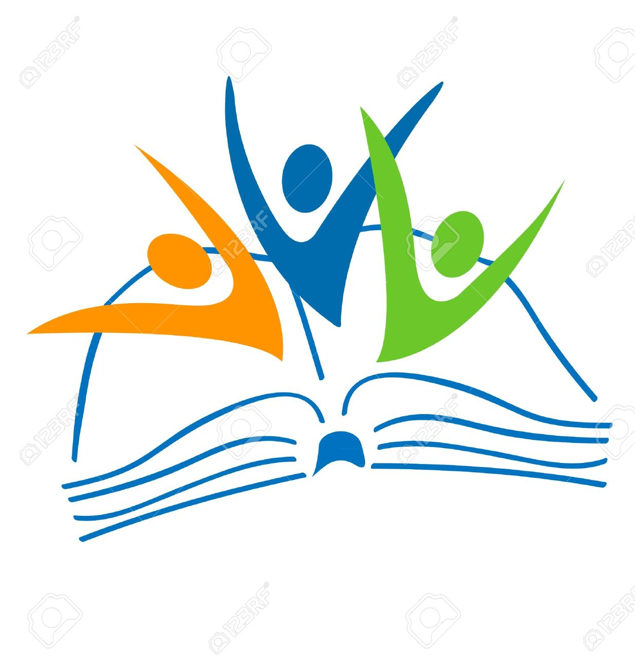 open book and students figures logo royalty free cliparts vectors rh 123rf com open book logo vector free download open book logo design