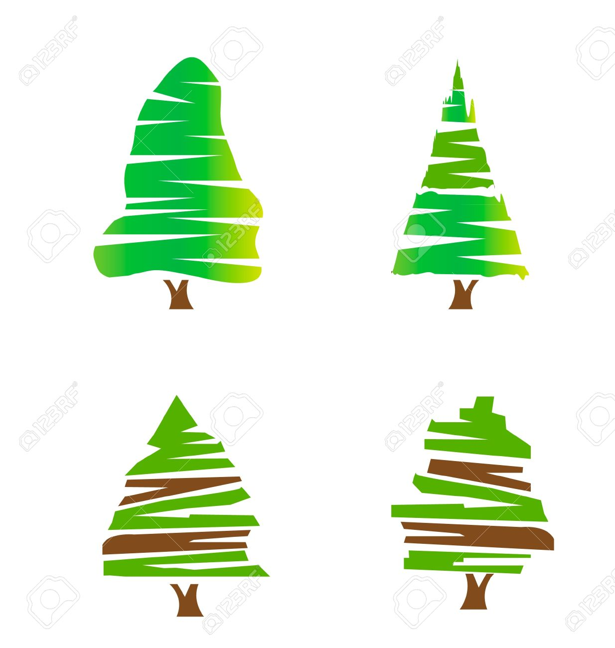 Set of green trees logo stock Stock Vector - 13855657