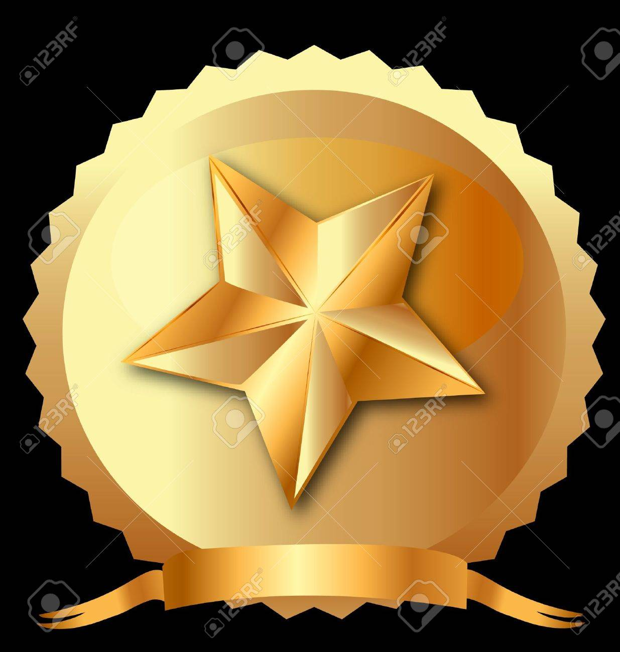 Star seal in gold with ribbon Stock Vector - 13857893