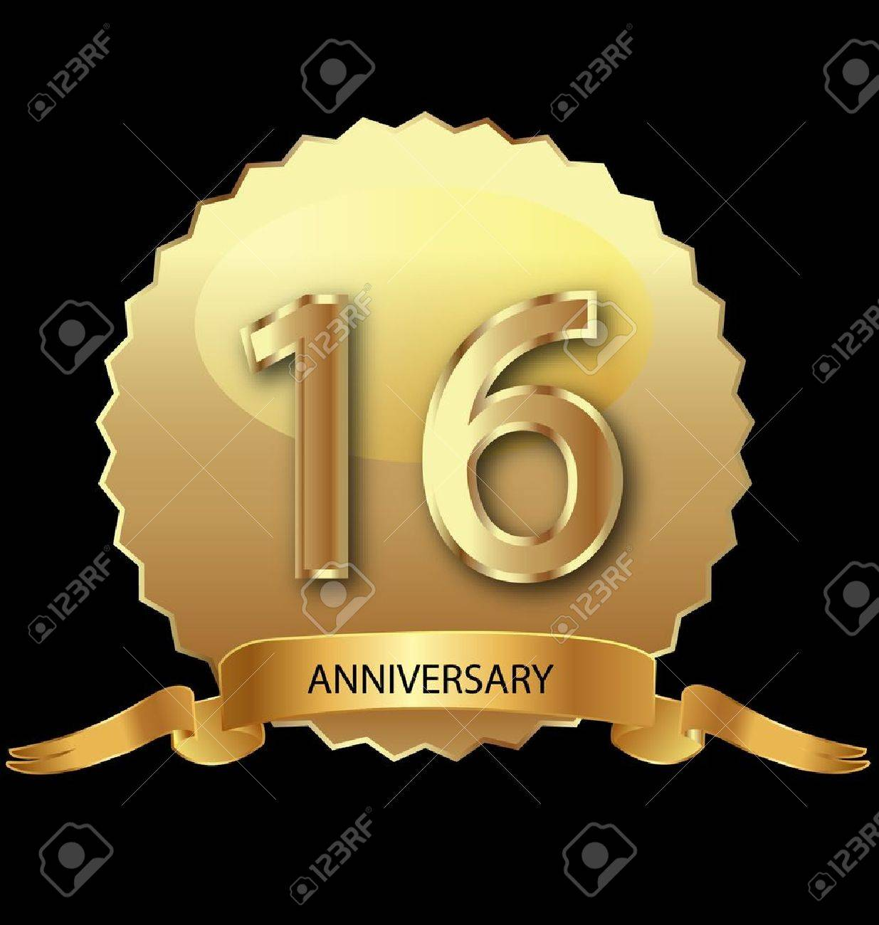 16th anniversary in gold seal Stock Vector - 13879967