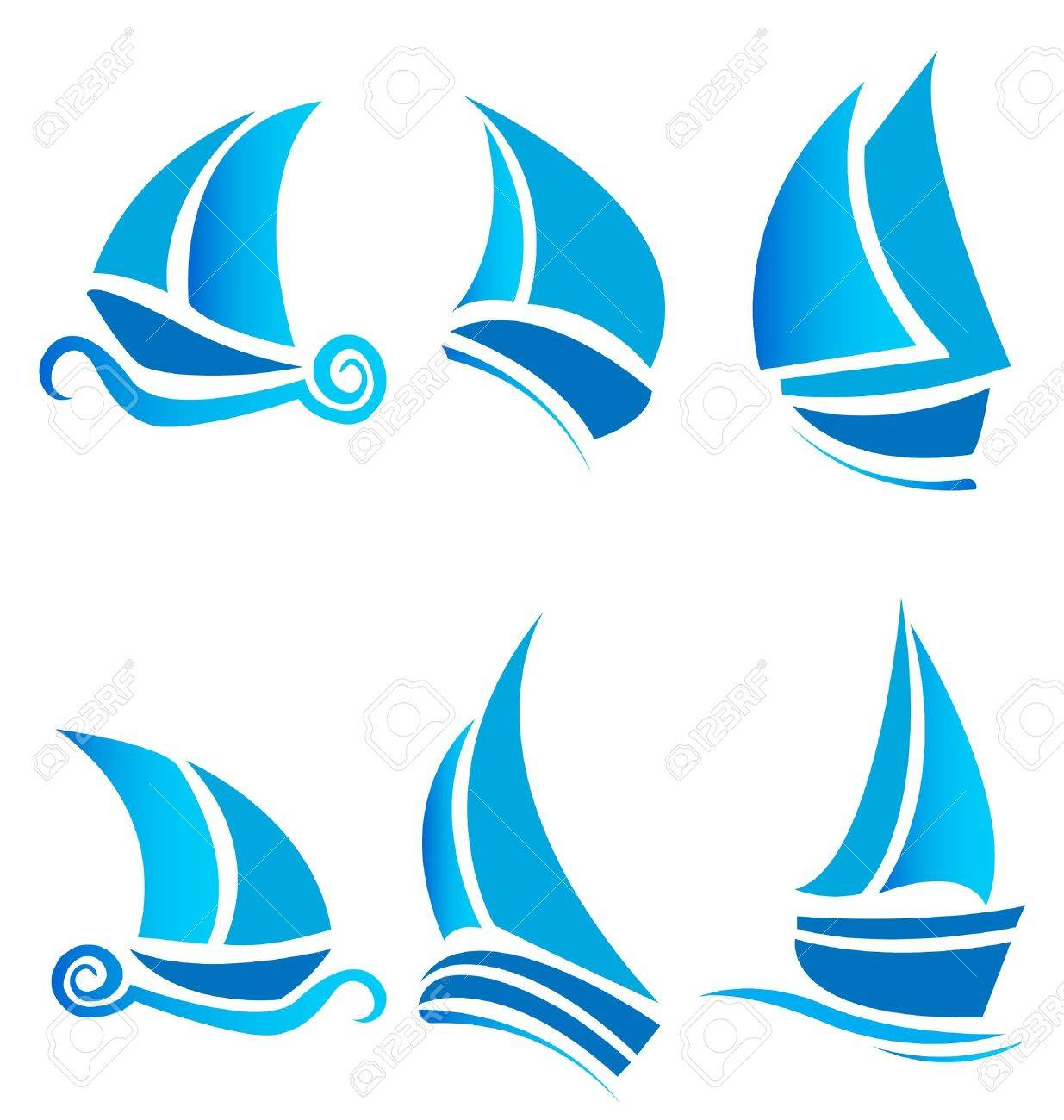 Set of boats ships or cruise with waves vector logo Stock Vector - 13917309