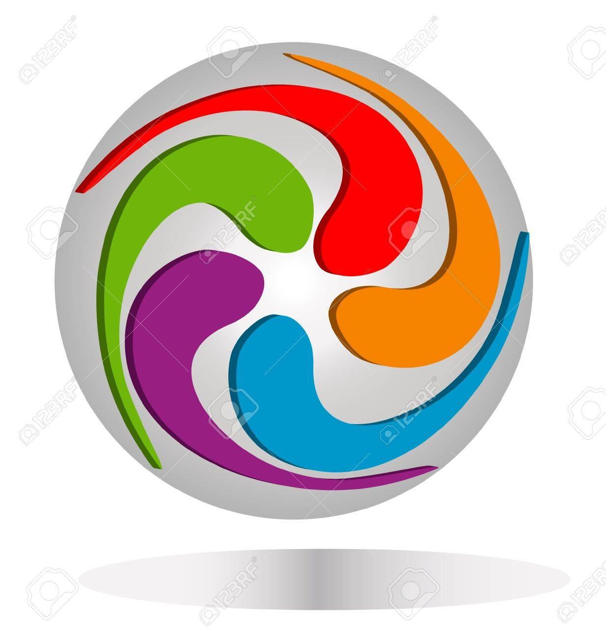 Abstract around earth logo Stock Vector - 13975523