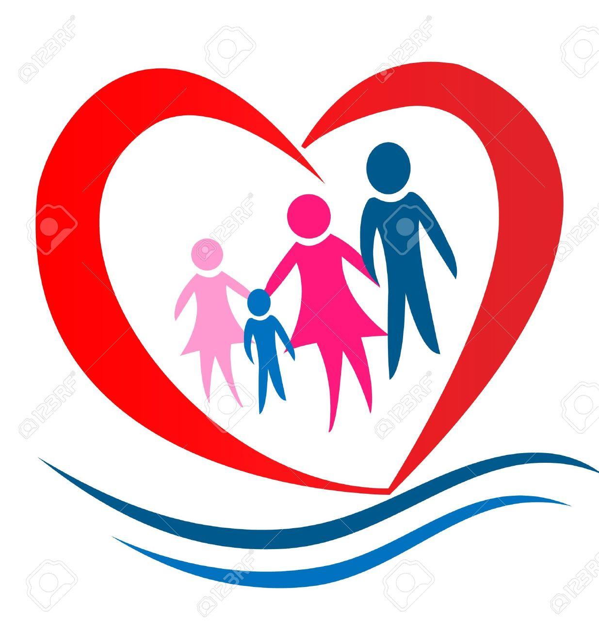 Family heart logo Stock Vector - 13975518