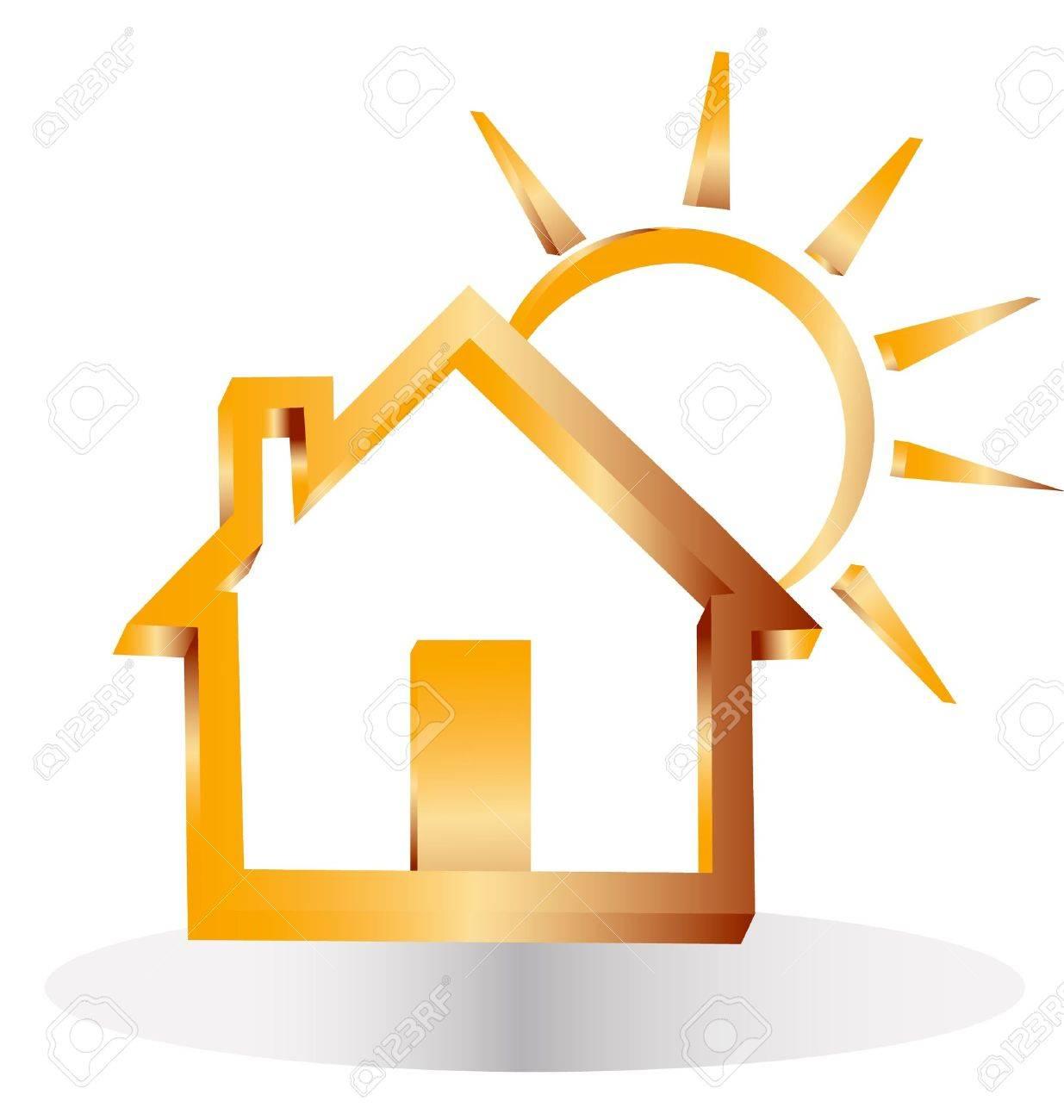 3d gold house and sun Stock Vector - 14063195