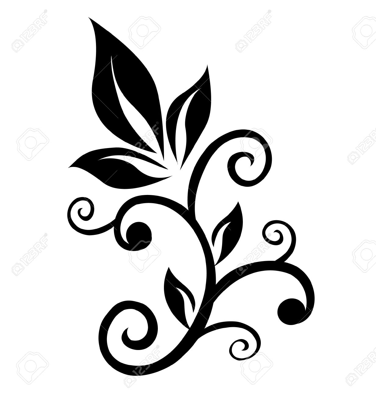 Floral swirl ornament element Stock Vector - 14161516