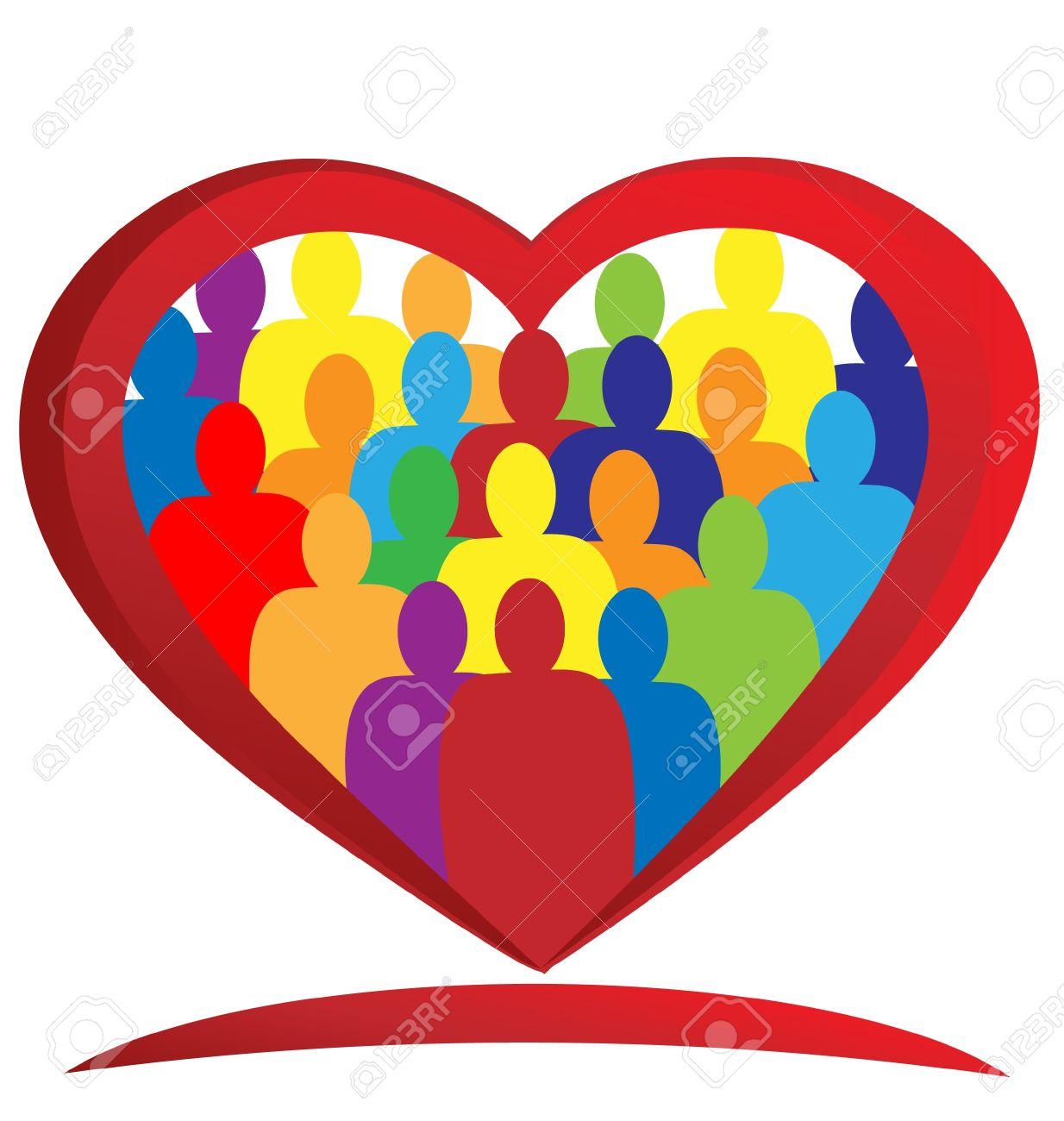 Teamwork heart diversity people logo vector Stock Vector - 14308525