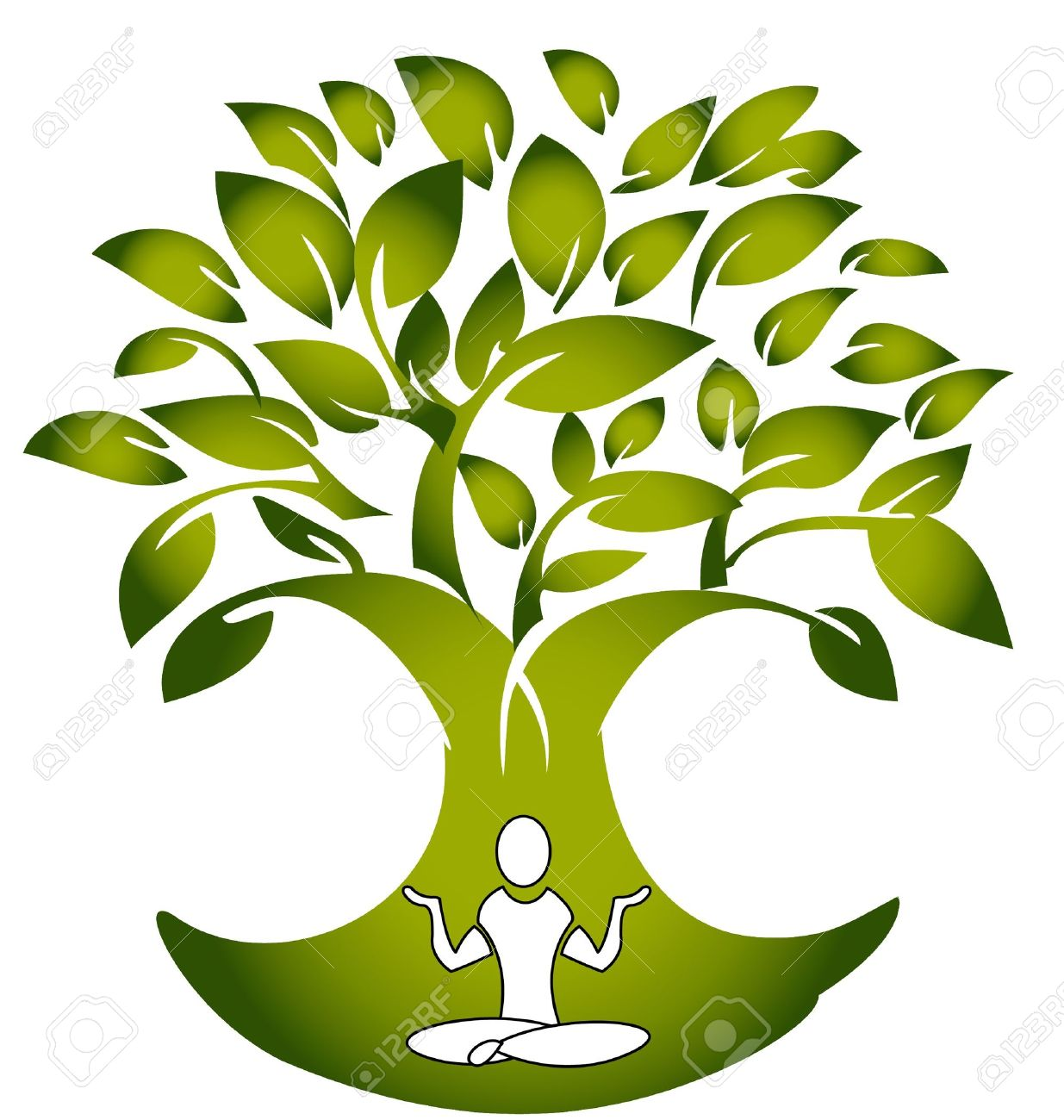 Yoga figure with tree logo vector Stock Vector - 14760790