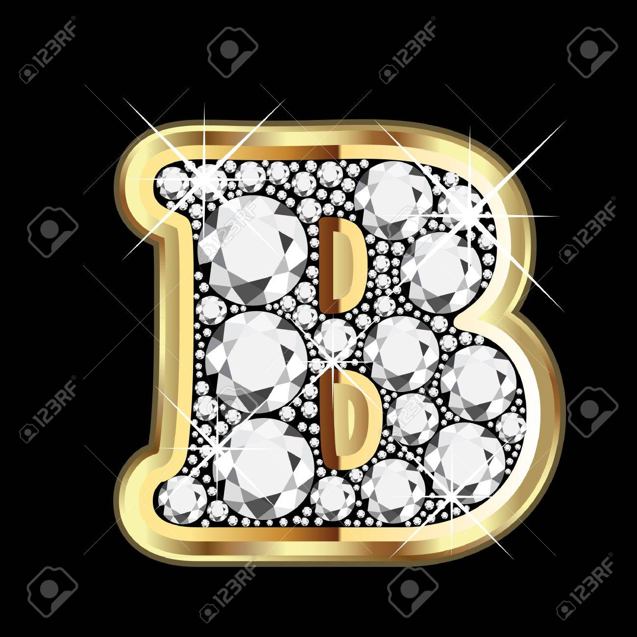 B gold and diamond bling Stock Vector - 14945994