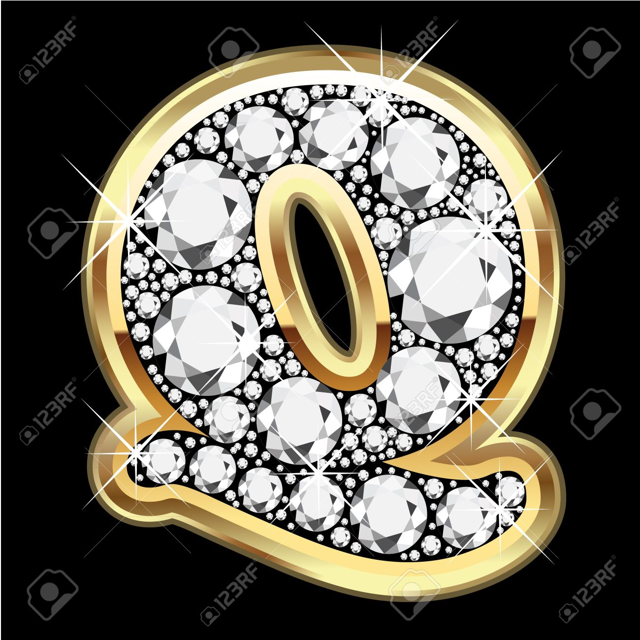 Q gold and diamond bling Stock Vector - 14945989