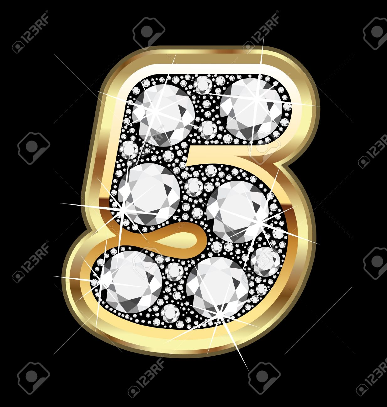 5 number gold and diamond bling Stock Vector - 15041376