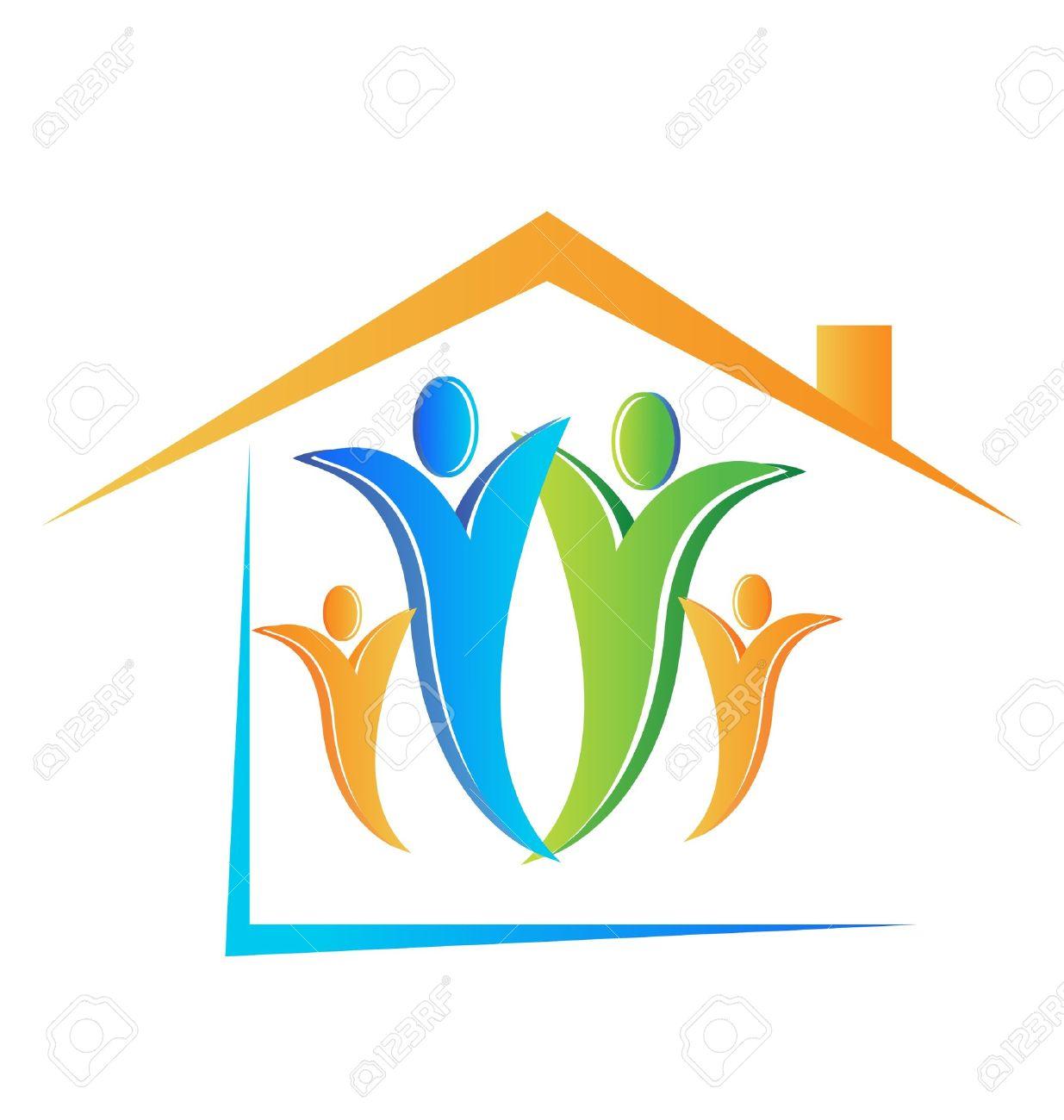 Famille Et Le Logo De La Maison Clip Art Libres De Droits , Vecteurs Et