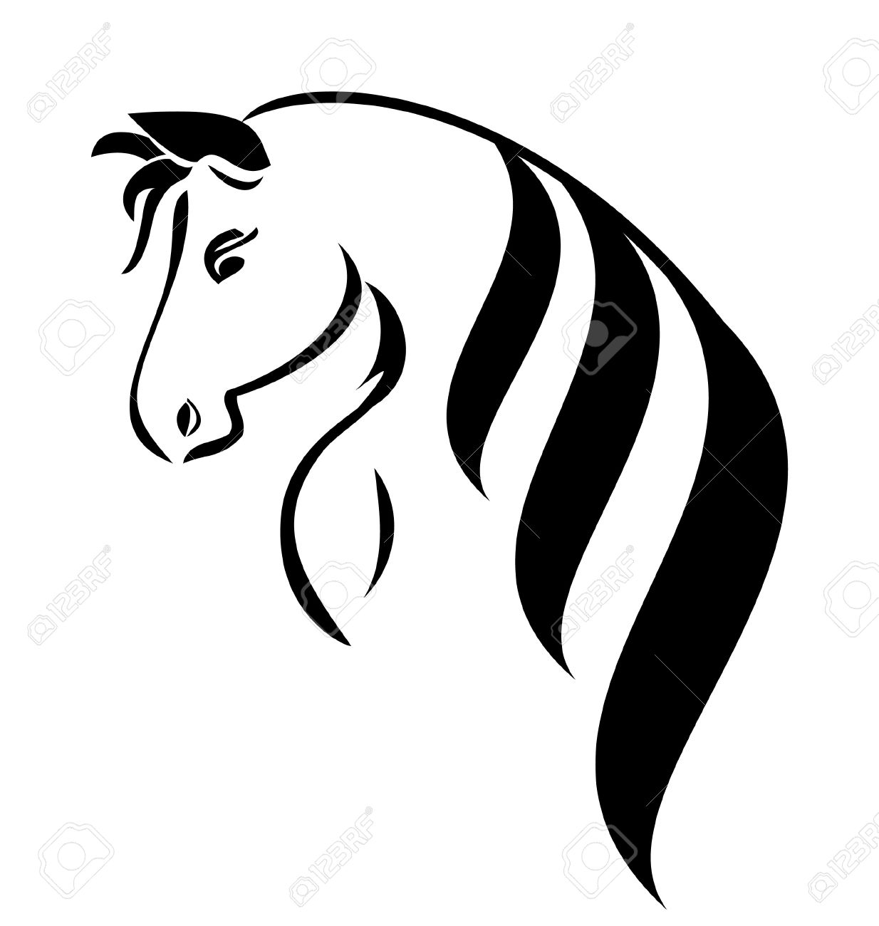 Head Horse With Beauty Hair Logo Vector Stock