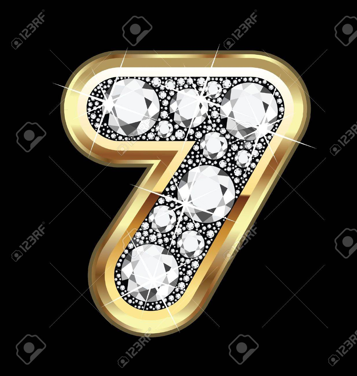 seven number gold and diamond bling Stock Vector - 15220908