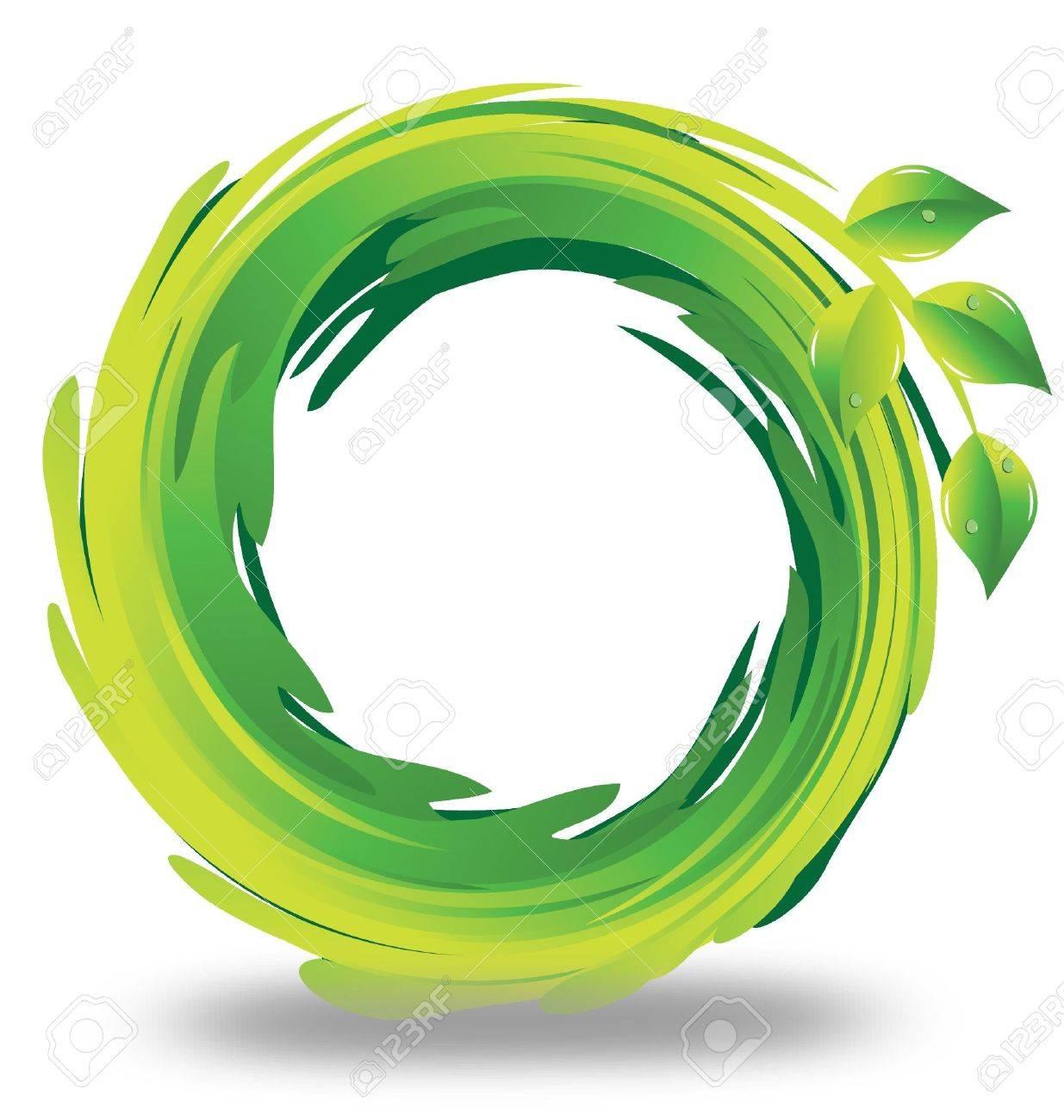 Verdes Logo Swirly Logo Foglie Verde Stock