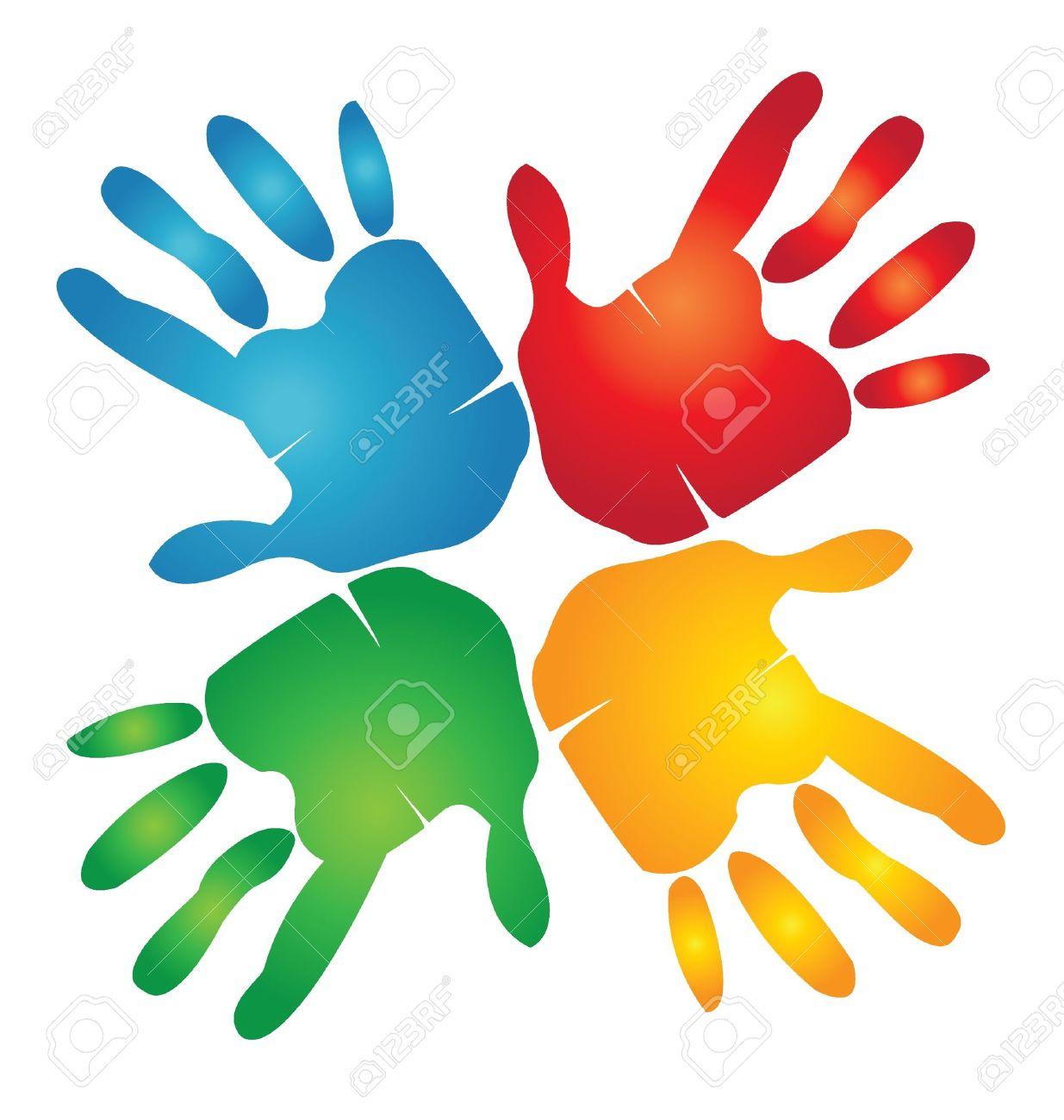 Teamwork hands around colorful logo - 15252966