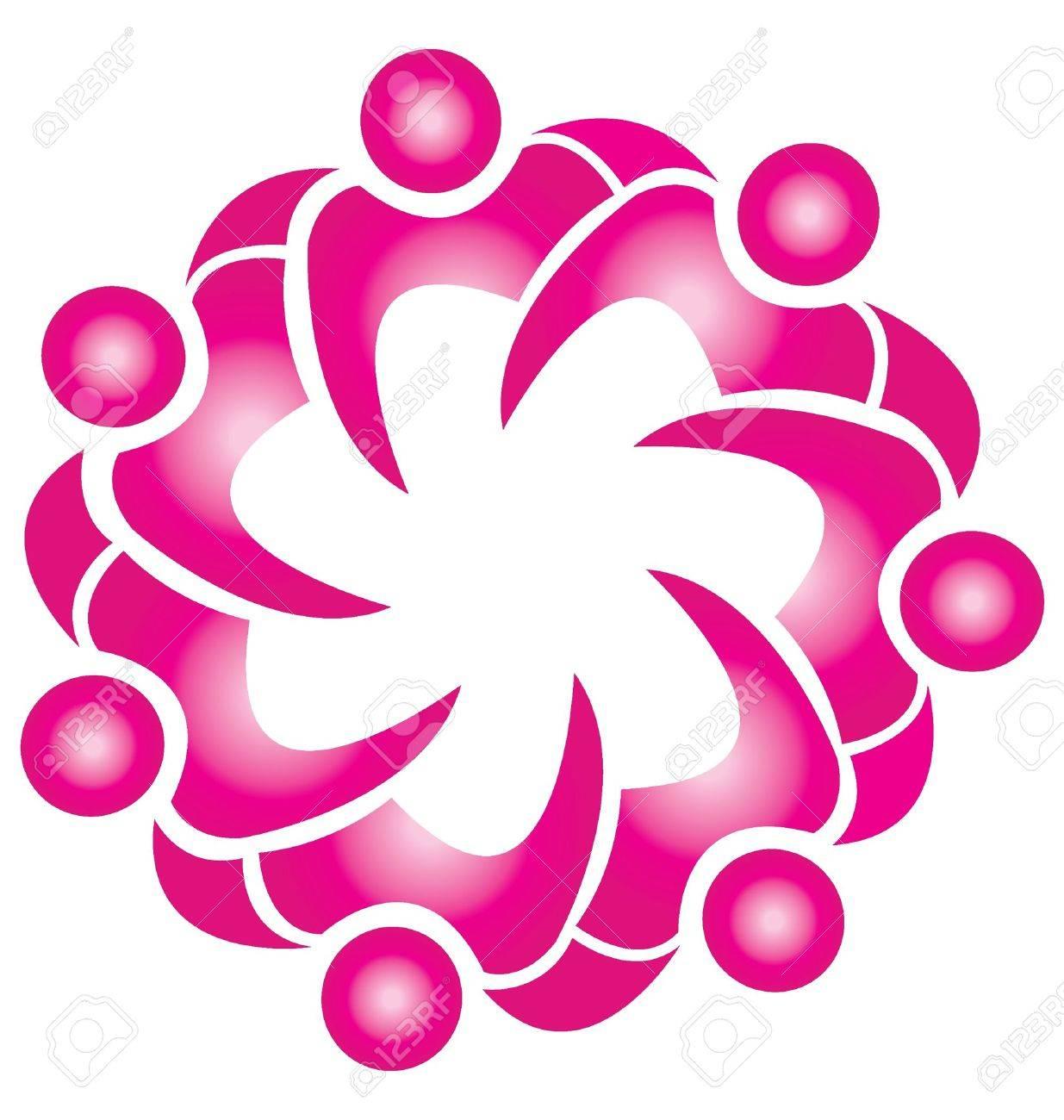 Teamwork fashion pink flower logo Stock Vector - 15252967