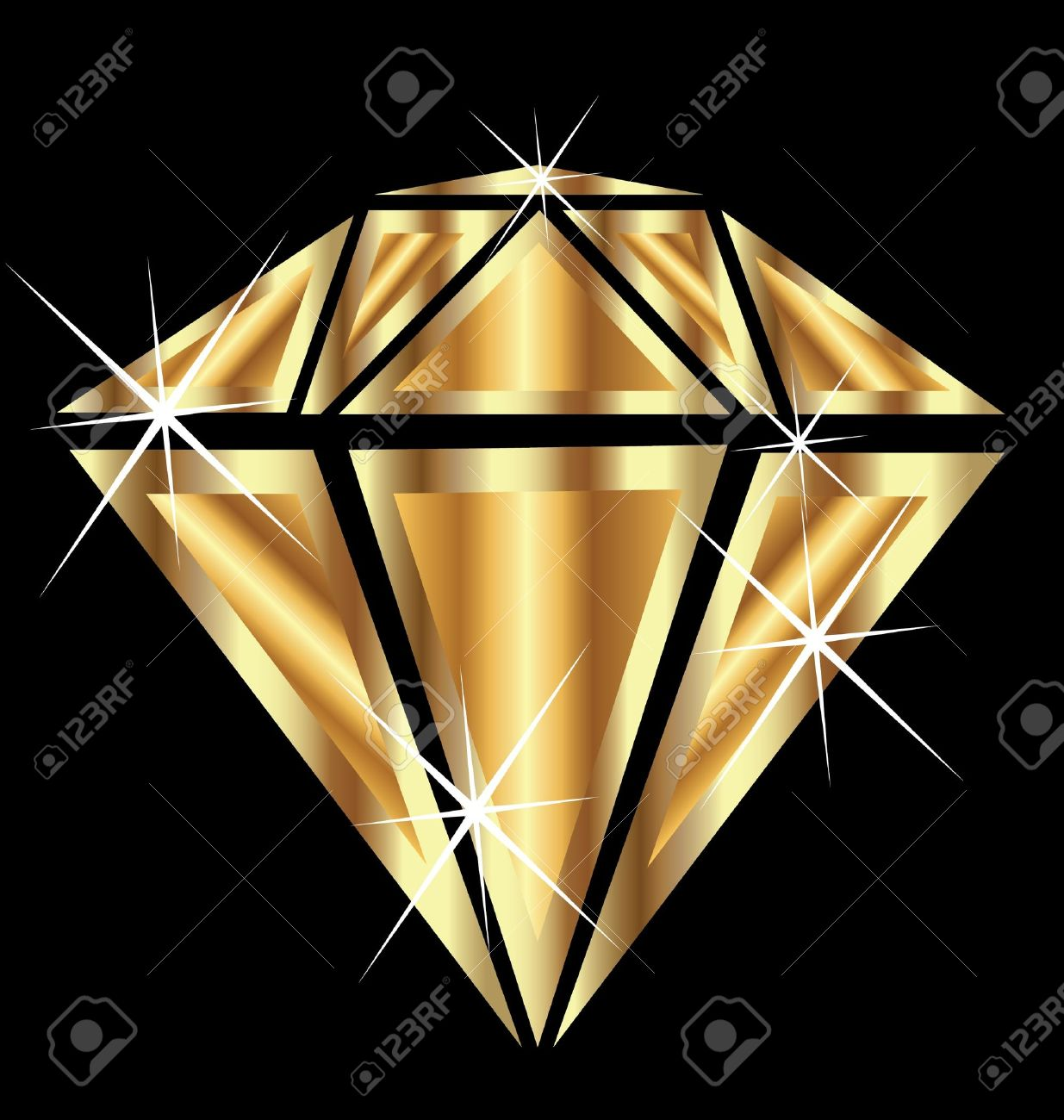 Diamond with brilliant sparkle jewelry gold vector - 15435062