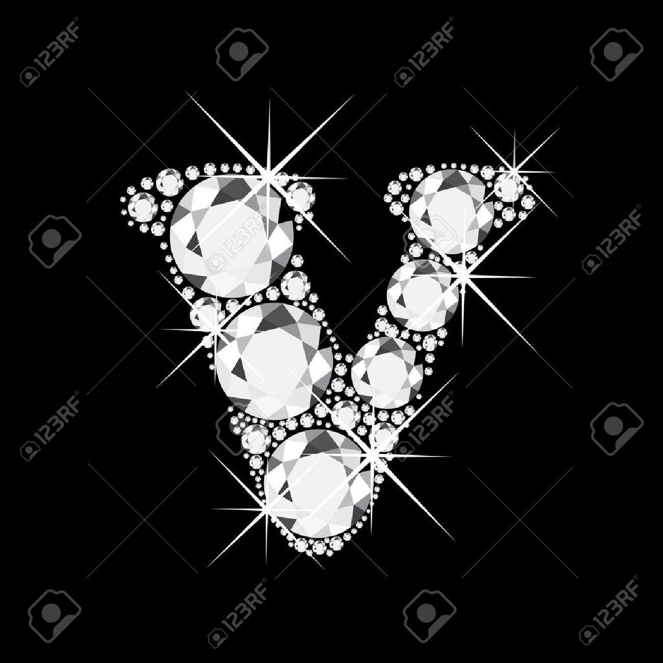 V Letter With Diamonds Bling Stock Vector