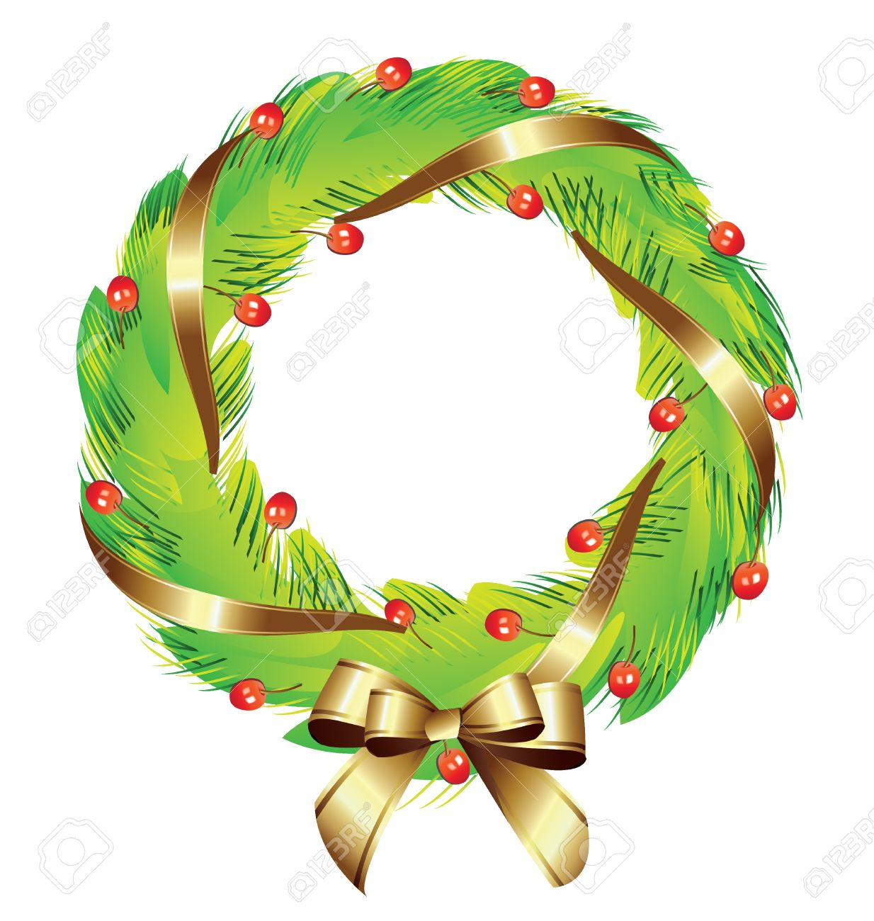 Christmas Wreath Clipart.Christmas Wreath With Gold Ribbon