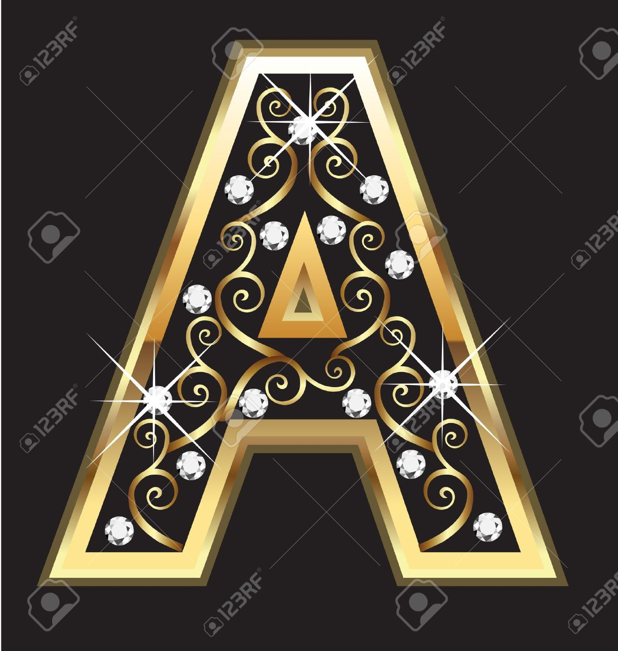 superb A&c Kitchen And Bath #8: A gold letter with swirly ornaments Stock Vector - 16099620