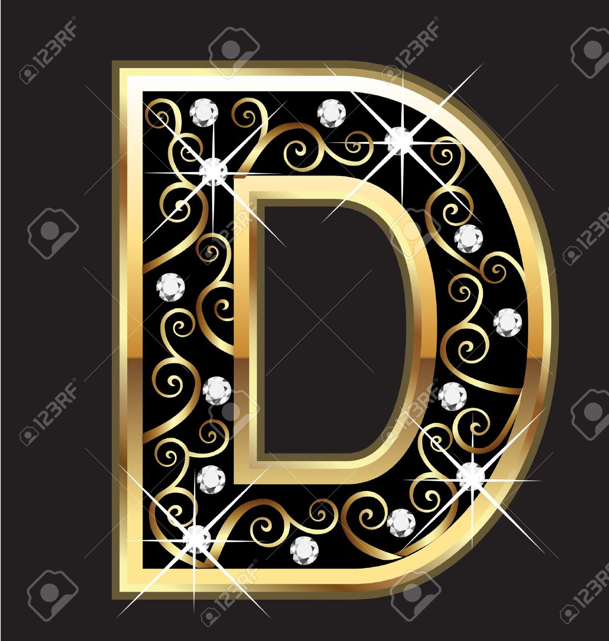 D Gold Letter With Swirly Ornaments Royalty Free Cliparts, Vectors ...