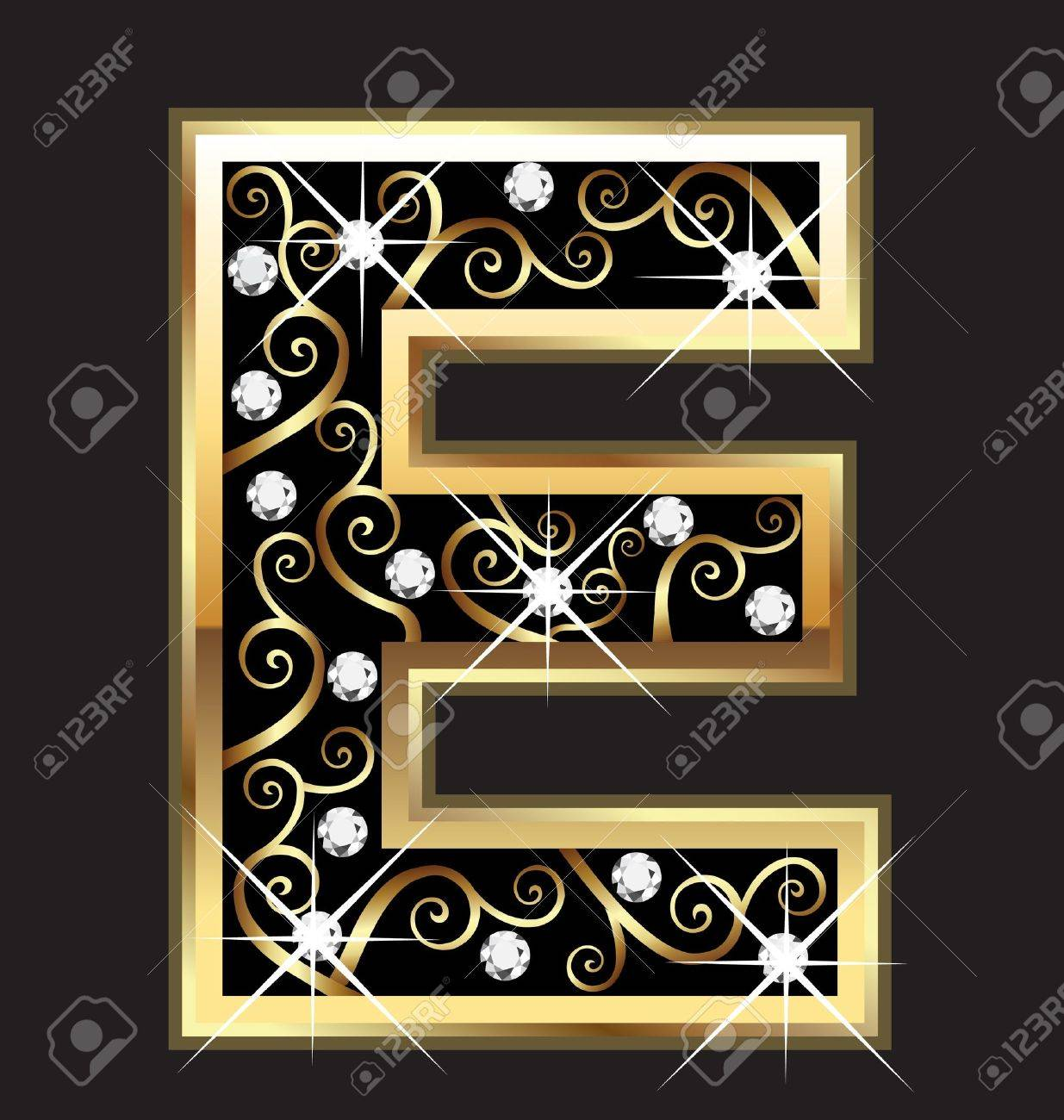 gold letter e gold letter with swirly ornaments illustration
