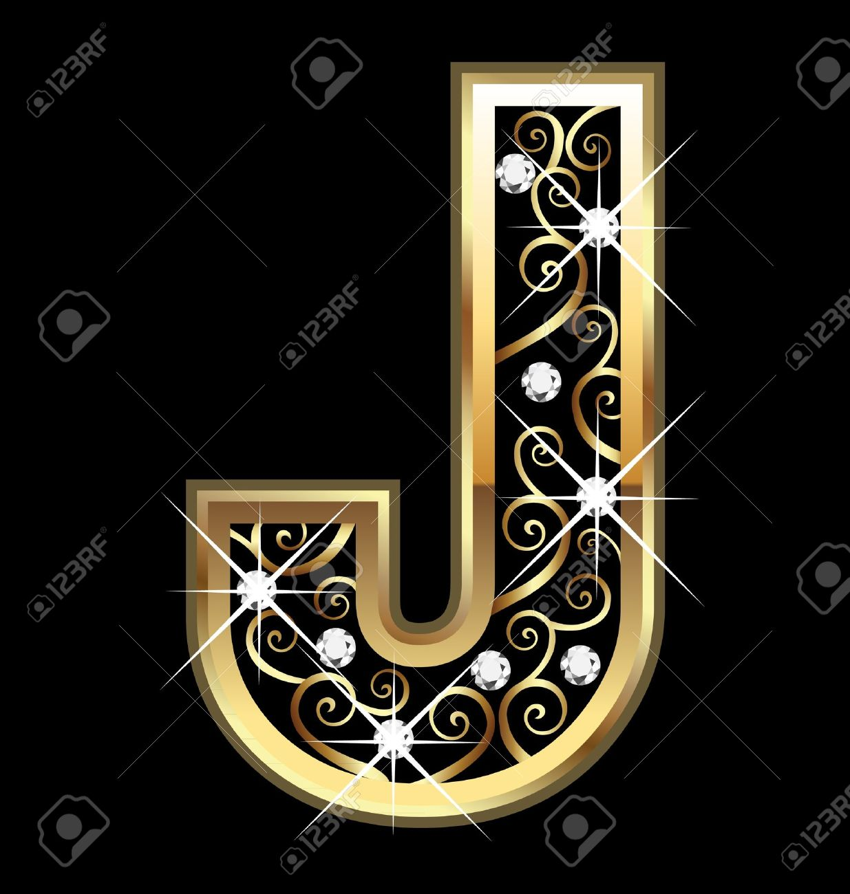 Exceptional Letter J: J Gold Letter With Swirly Ornaments