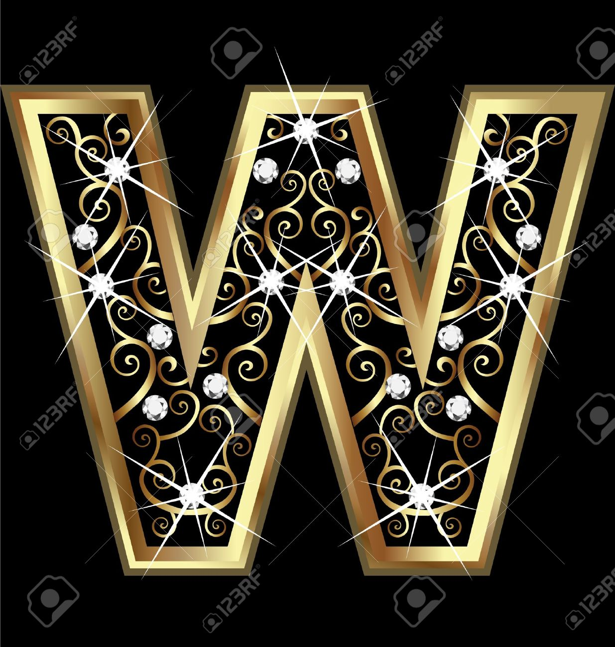 W gold letter with swirly ornaments Stock Vector - 16220132