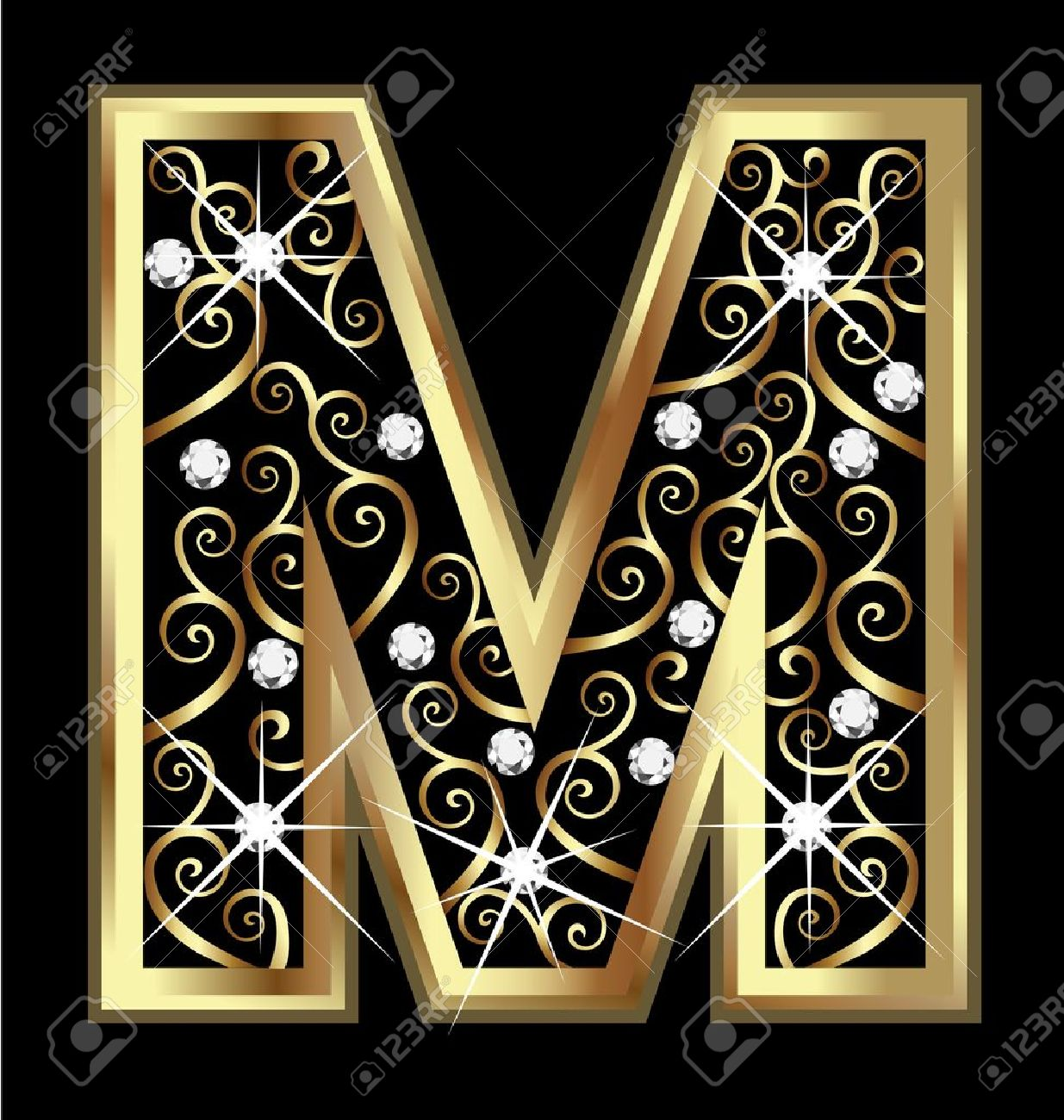 M gold letter with swirly ornaments Stock Vector - 16320515