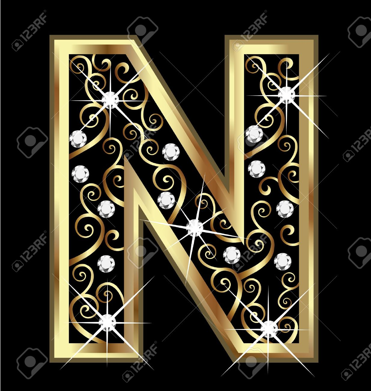 n gold letter with swirly ornaments stock vector - 16320514
