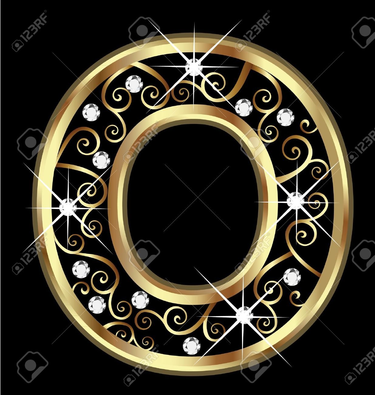 o gold letter with swirly ornaments stock vector 16320512