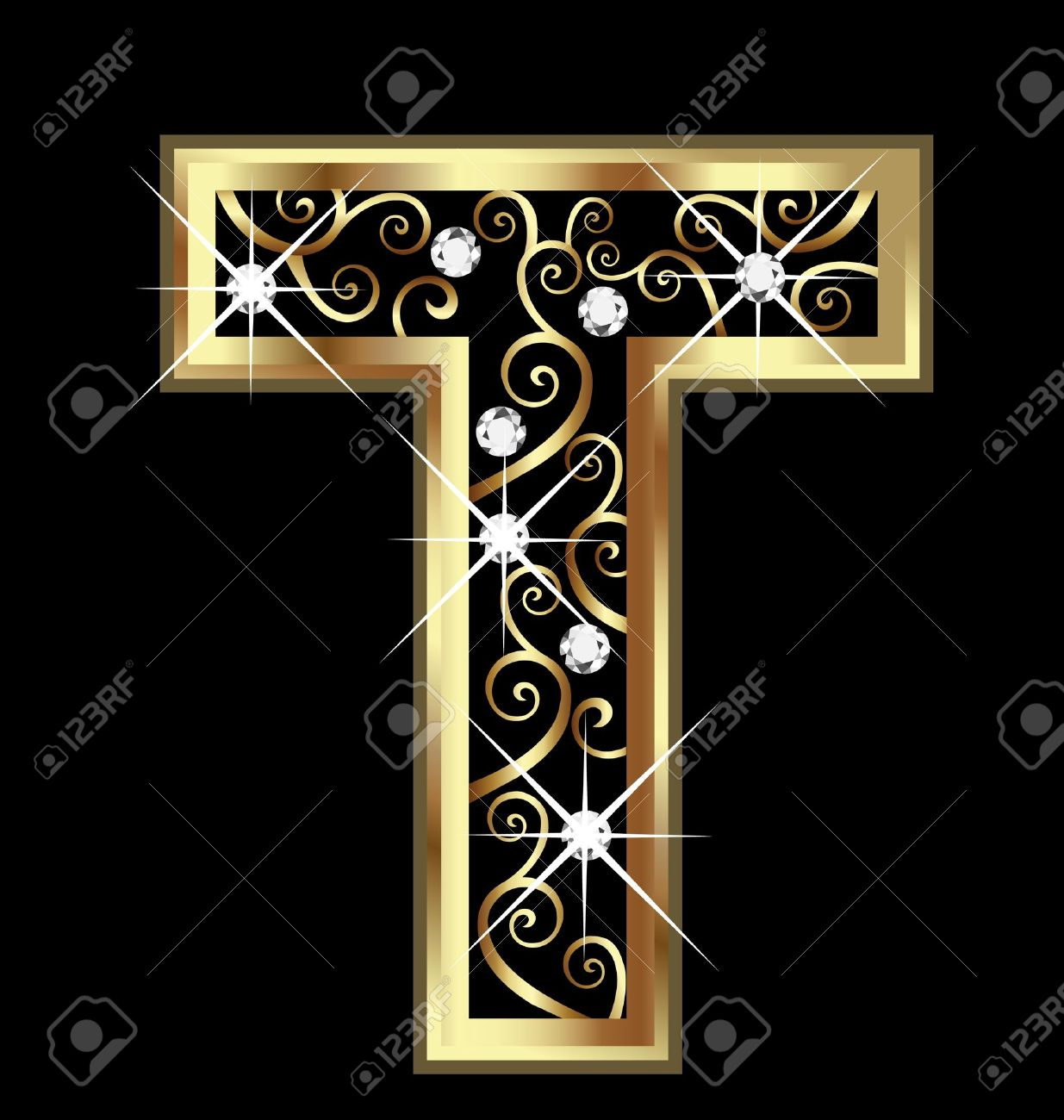 T gold letter with swirly ornaments Stock Vector - 16320522