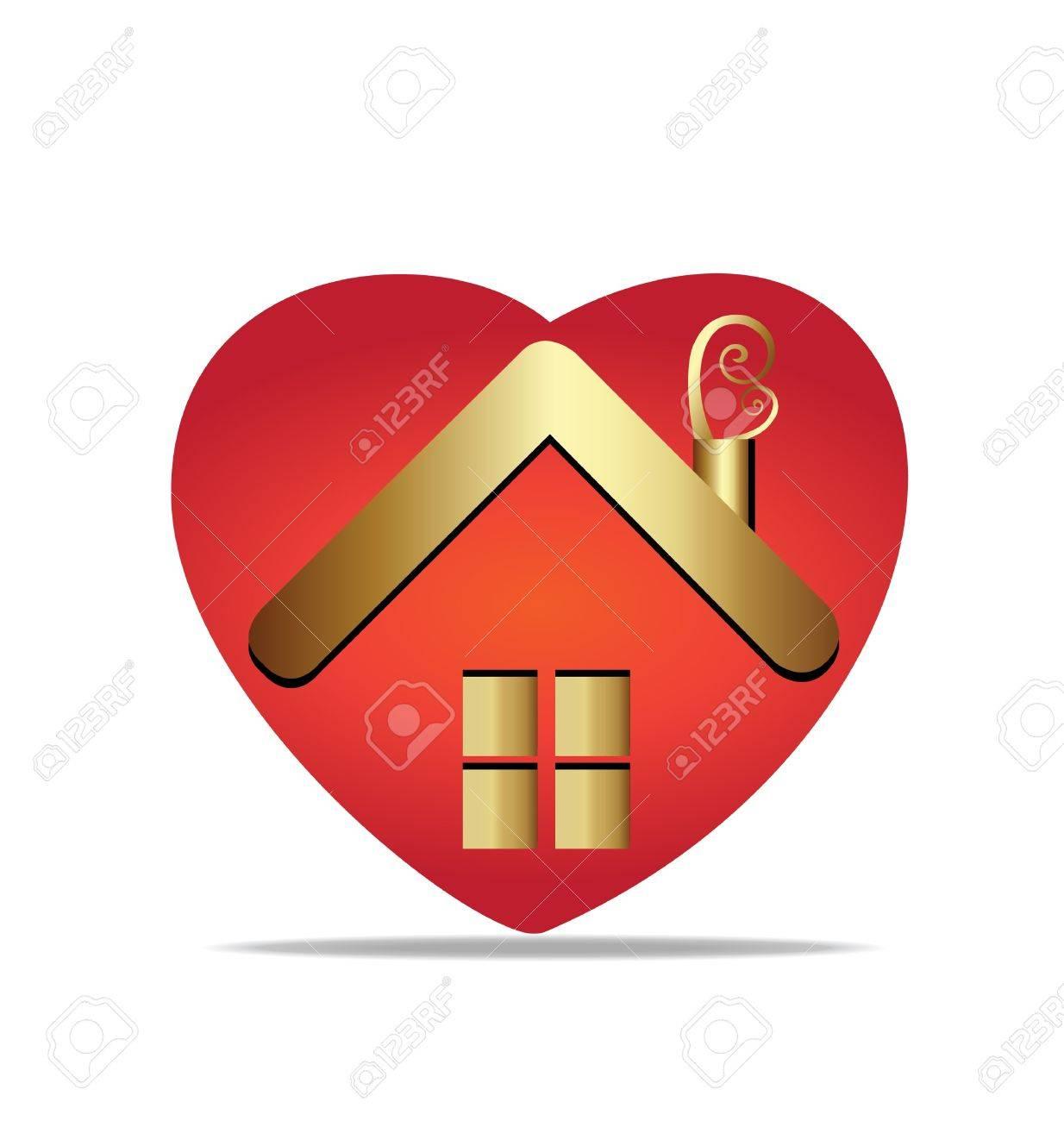 Gold house and heart logo vector Stock Vector - 16320521