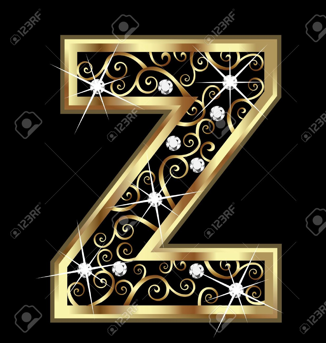 gold letter z gold letter with swirly ornaments