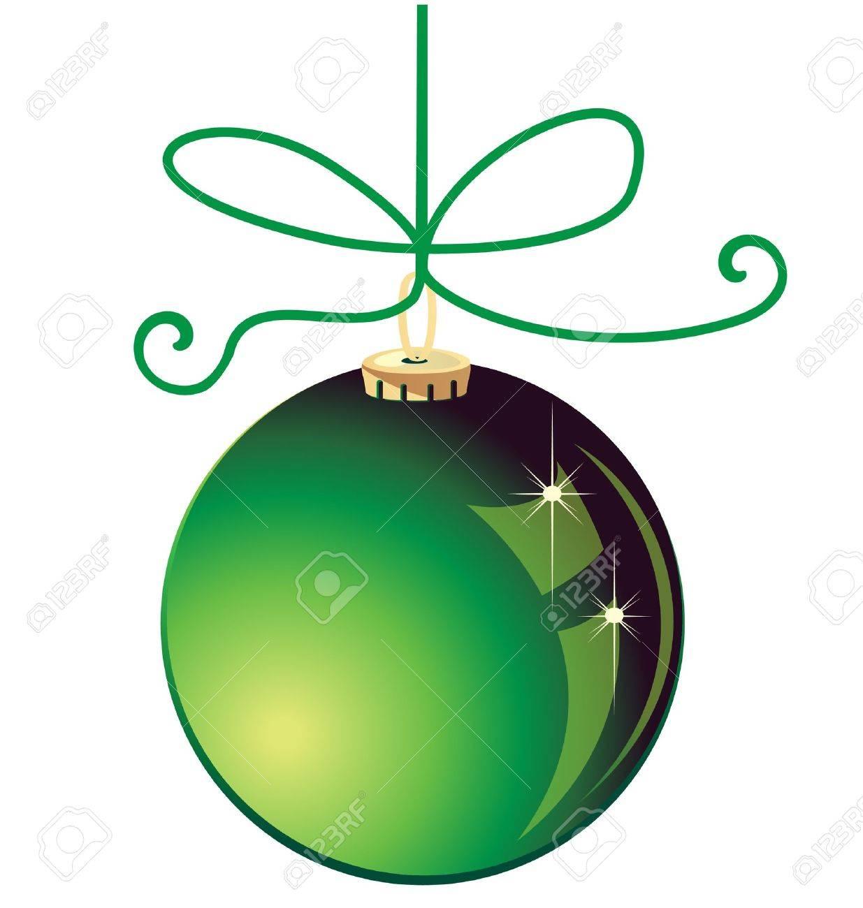 Green Christmas Ball Decoration Stock Vector