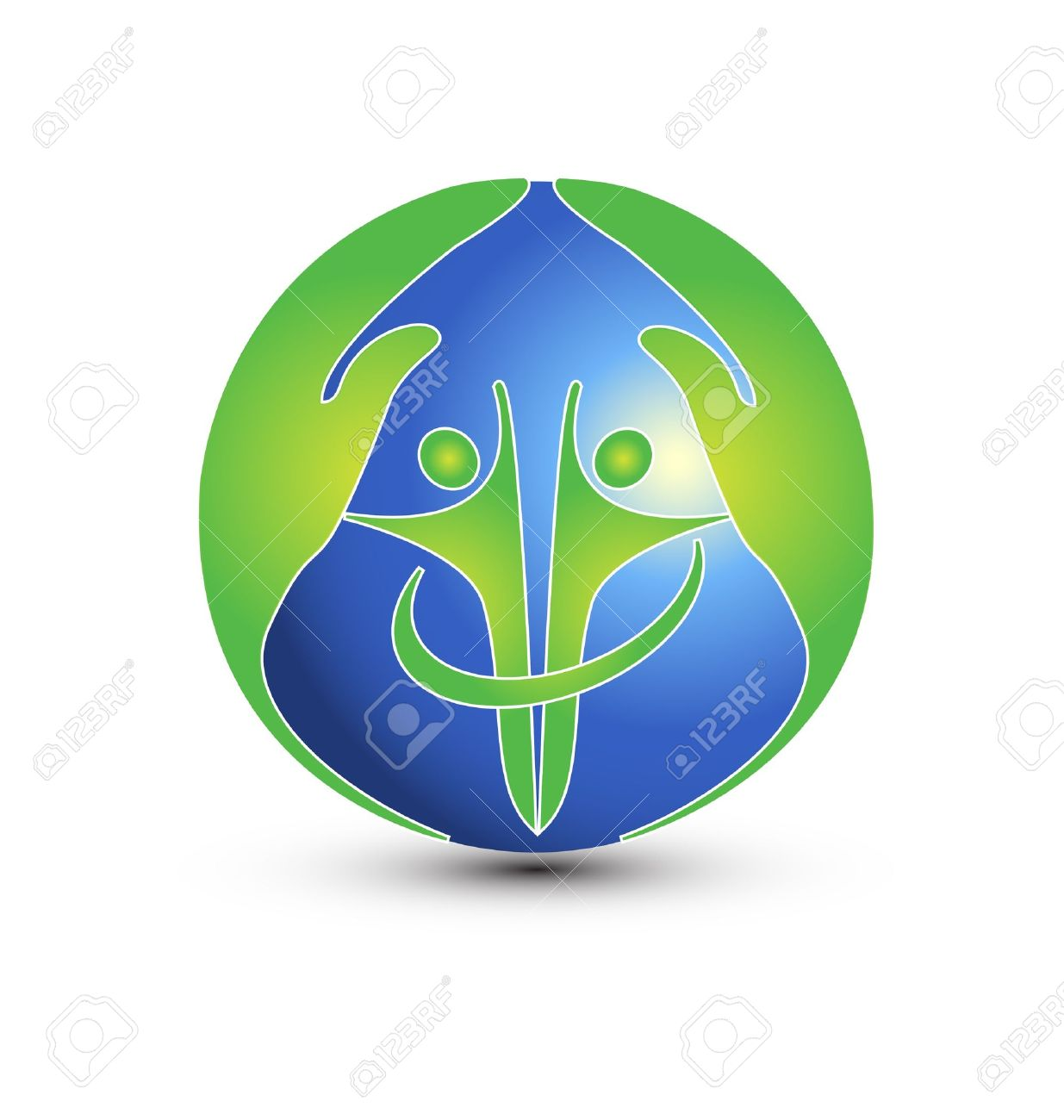 Hands and people protect the world logo vector Standard-Bild - 16938099