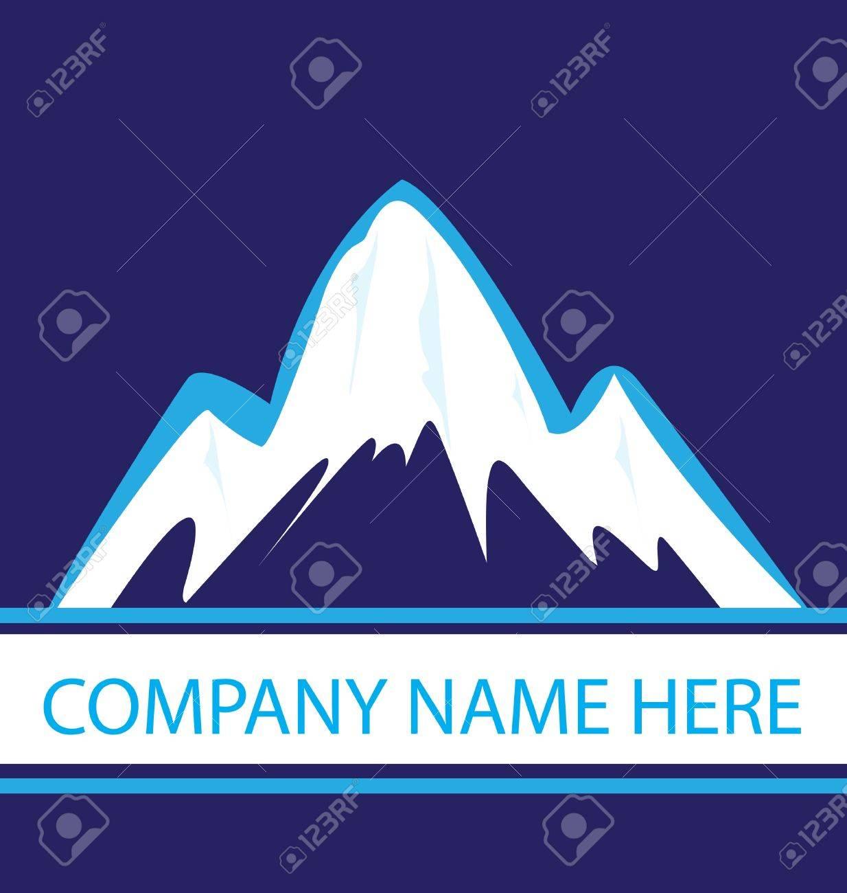 Mountains in blue navy logo Stock Vector - 16977559