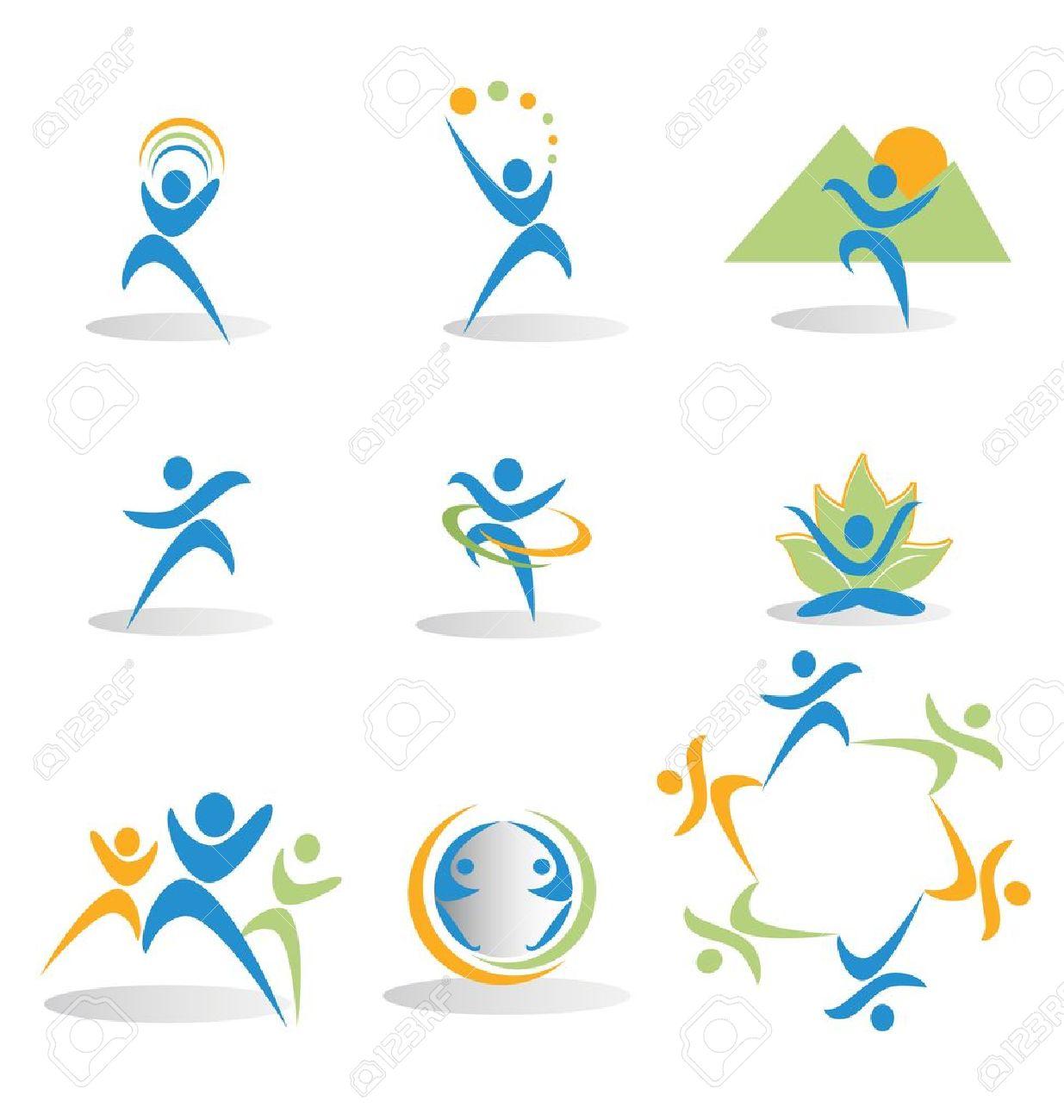 Gesundheit, Natur, Yoga, Wirtschaftlichen, Sozialen Icons Logos ...
