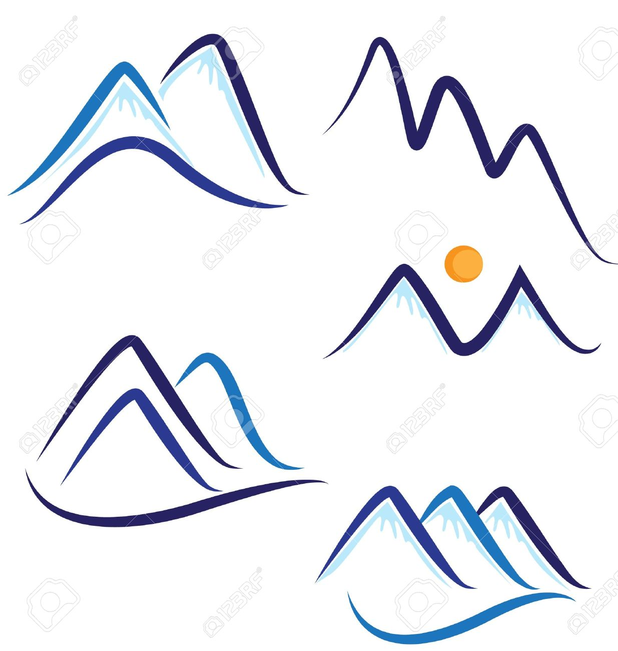 Set of stylized snowy mountains logo Stock Vector - 16977556
