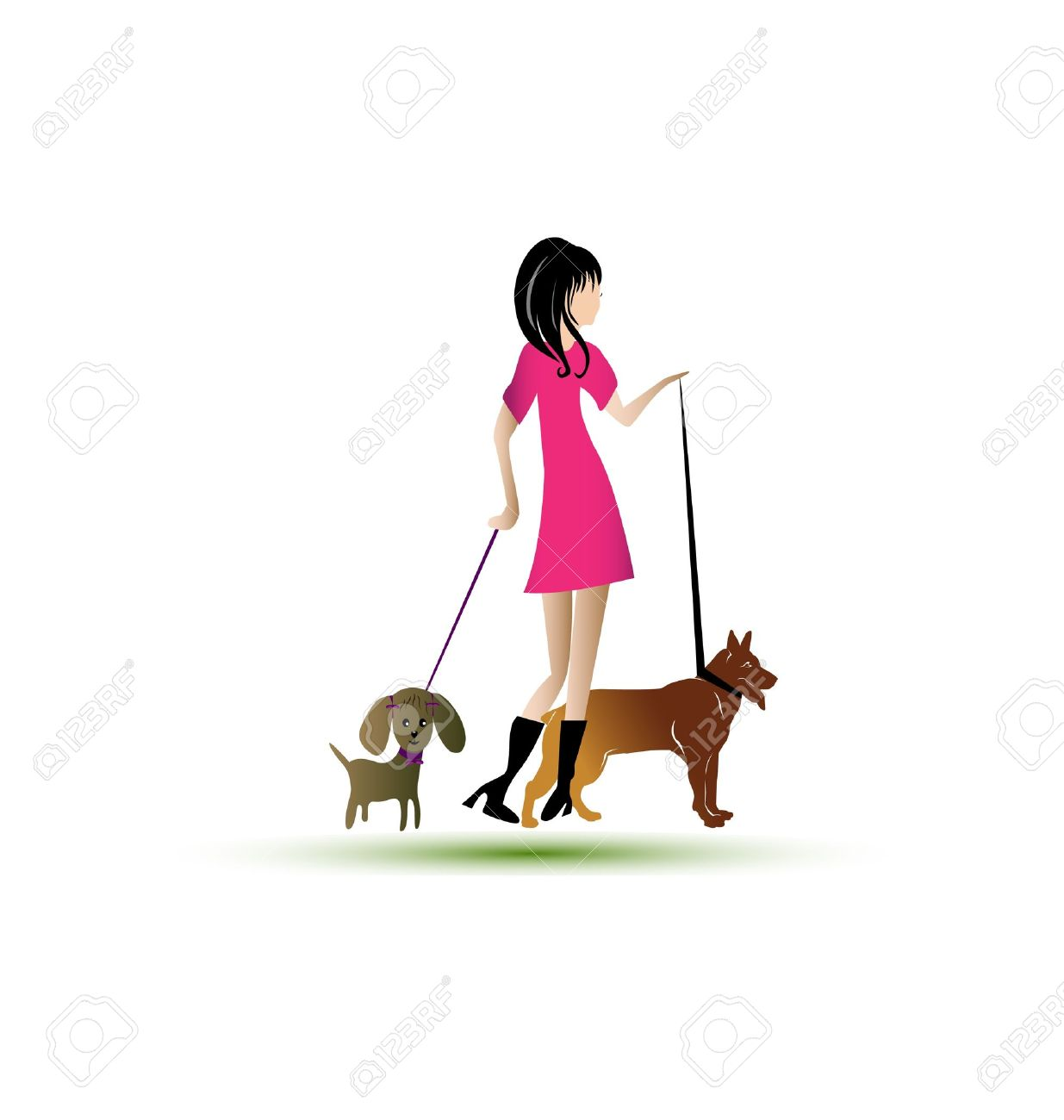Image result for caricature of lady walking a dog