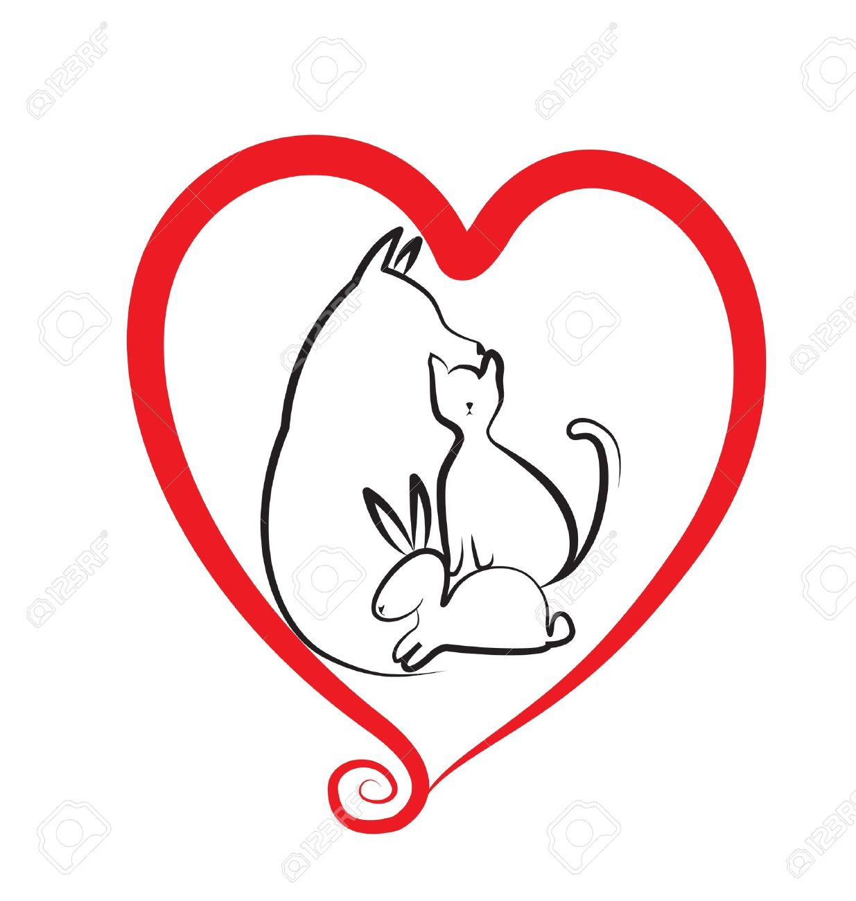Pets and heart logo Stock Vector - 17280338