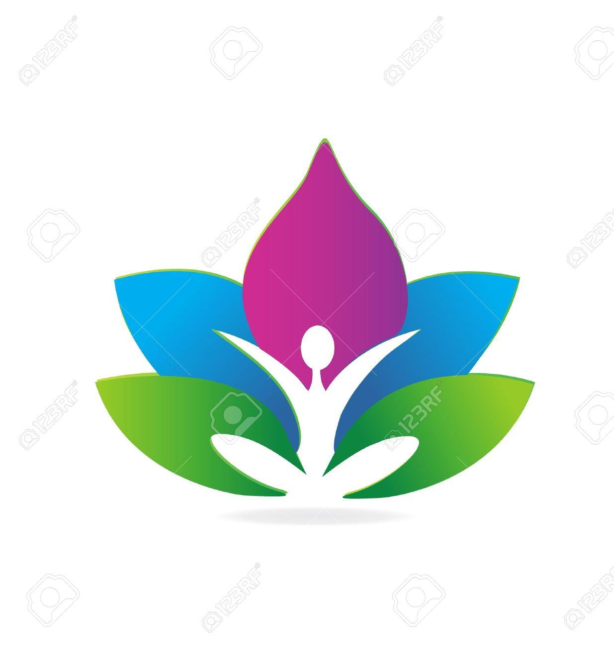 yoga lotus meditation logo royalty free cliparts vectors and stock